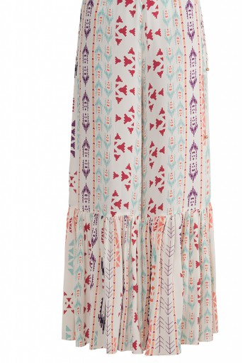 PS-FW612 Azizah Cream Printed Crepe High-Low Kurta with Frill Palazzo