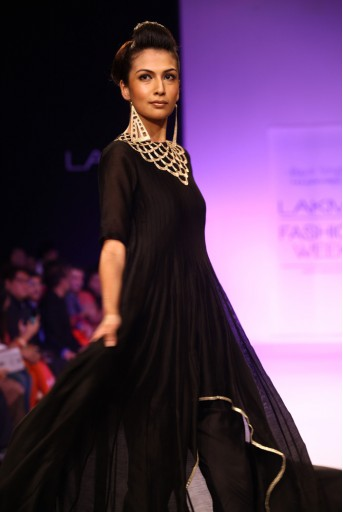PS-FW206 Bahar Black Silkmul Asymmetric kurta with Churidar