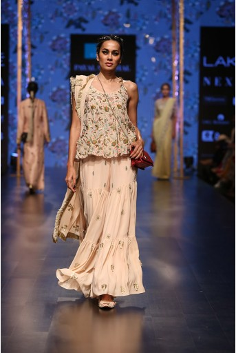 PS-FW568 Banu Blush Georgette Short Anarkali with Sharara and Dupatta
