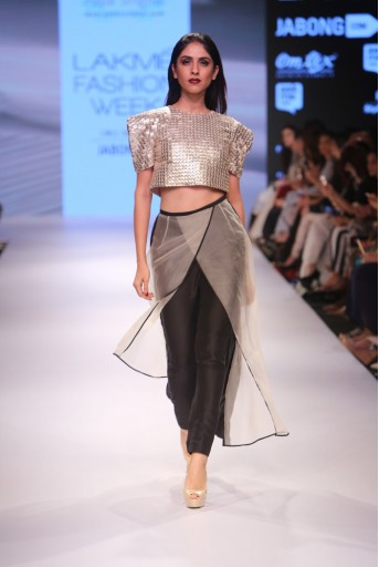 PS-FW352 Basant Stone Organza Crop Top with Black Silkmul Pant and Stone Organza Overlap