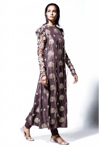 PS-FW391 Begum Gunmetal Grey Silk and Organza Kurta with Soft Net Churidar