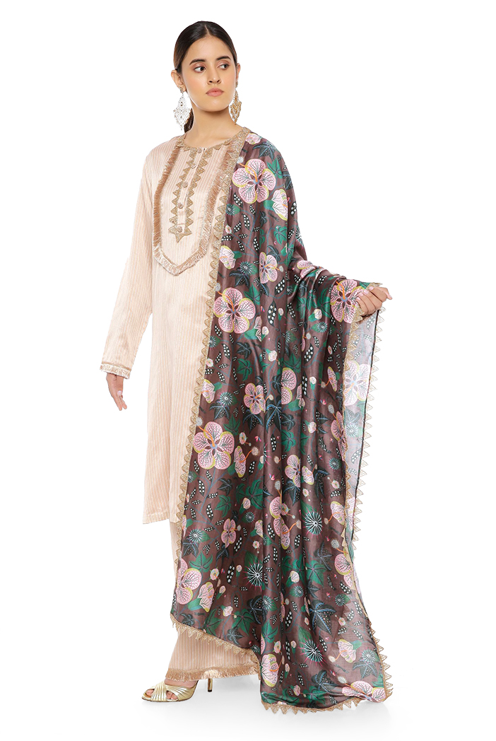 PS-KP0049  Beige Colour Chanderi Stripe Kurta with Palazzo and Brown Abutilon Printed Silkmul Dupatta with Matching Structured 3 Ply Mask