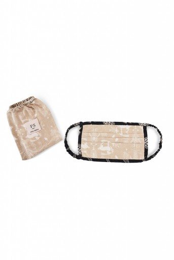 PS-MS0016 Beige Khargosh with Black Pine Cone Print Pleated 3 Ply Mask with Pouch