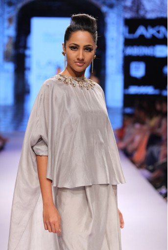 PS-FW322 Benazir Grey Silk Cape Tunic with Dhoti Pant