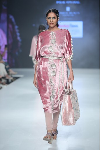 PS-KC0002A Berina Rose Pink Velvet Kurta with Soft Net Churidar