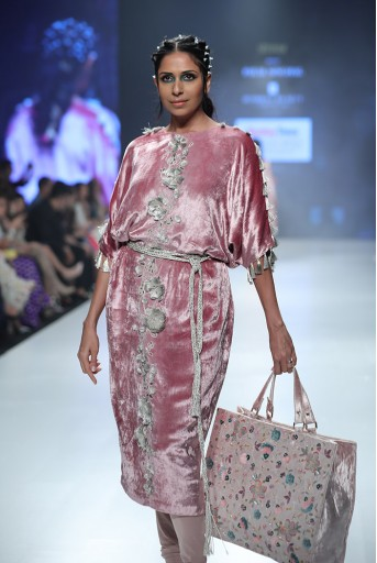 PS-KC0002A Berina Rose Pink Velvet Kurta with Soft Net Churidar