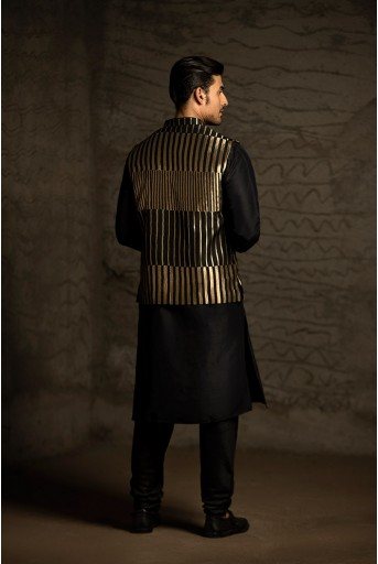 PS-MN037 Black Brocade Bandi with Black Silk Kurta and Cotton Silk Churidar