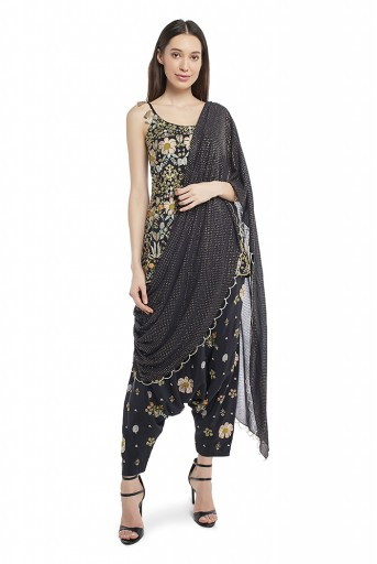 PS-FW538-G-3 Black Colour Crepe Short Anarkali Top and Low Crotch Pant with Attached Mukaish Georgetet Drape