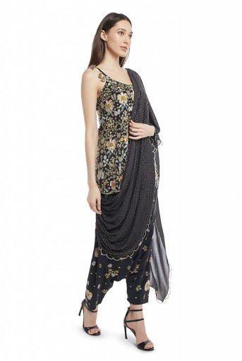 PS-FW538-G  Black Colour Crepe Short Anarkali Top and Low Crotch Pant with Attached Mukaish Georgette Drape