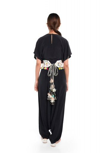 PS-PT0020  Black Colour Crepe Short Kaftaan Top and Low Crotch Pant with Cream Colour Linen Embroidered Mask and Tie Up Belt
