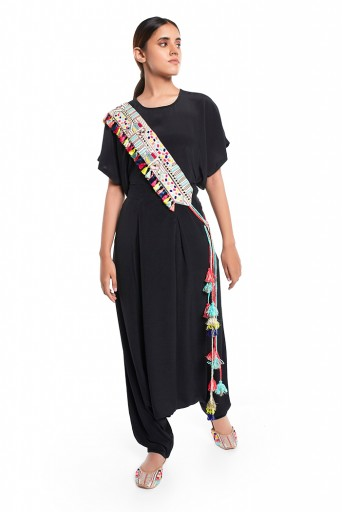 PS-PT0021  Black Colour Crepe Short Kaftaan Top and Low Crotch Pant with Cream Crepe Embroidered Mask and Tie Up Belt
