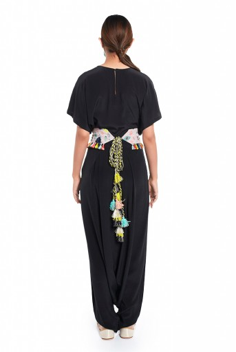 PS-PT0022  Black Colour Crepe Short Kaftaan Top and Low Crotch Pant with Lavender Lime Bandhani Kilim Print Crepe Embroidered Mask and Tie Up Belt