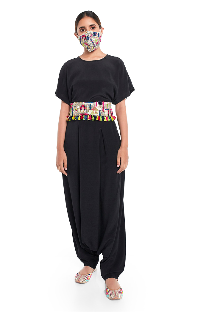 PS-PT0024  Black Colour Crepe Short Kaftaan Top and Low Crotch Pant with Stone Dupion Silk Embroidered Mask and Tie Up Belt