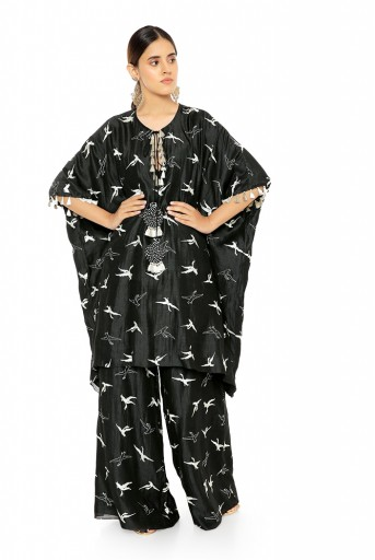 PS-KF0037  Black Colour Flamingo Patterned Banarsi Silk Kaftaan with Palazzo Pant