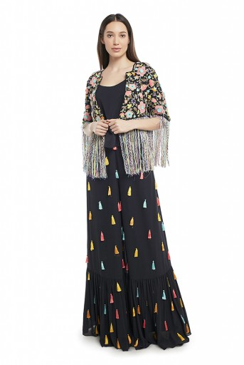 PS-FW680-A-1 Black Colour Georgette Choli with Jacket and Frill Palazzo