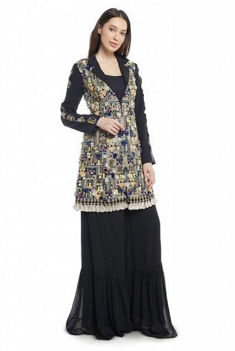 PS-FW656-B  Black Colour Georgette Jacket with Frill Palazzo