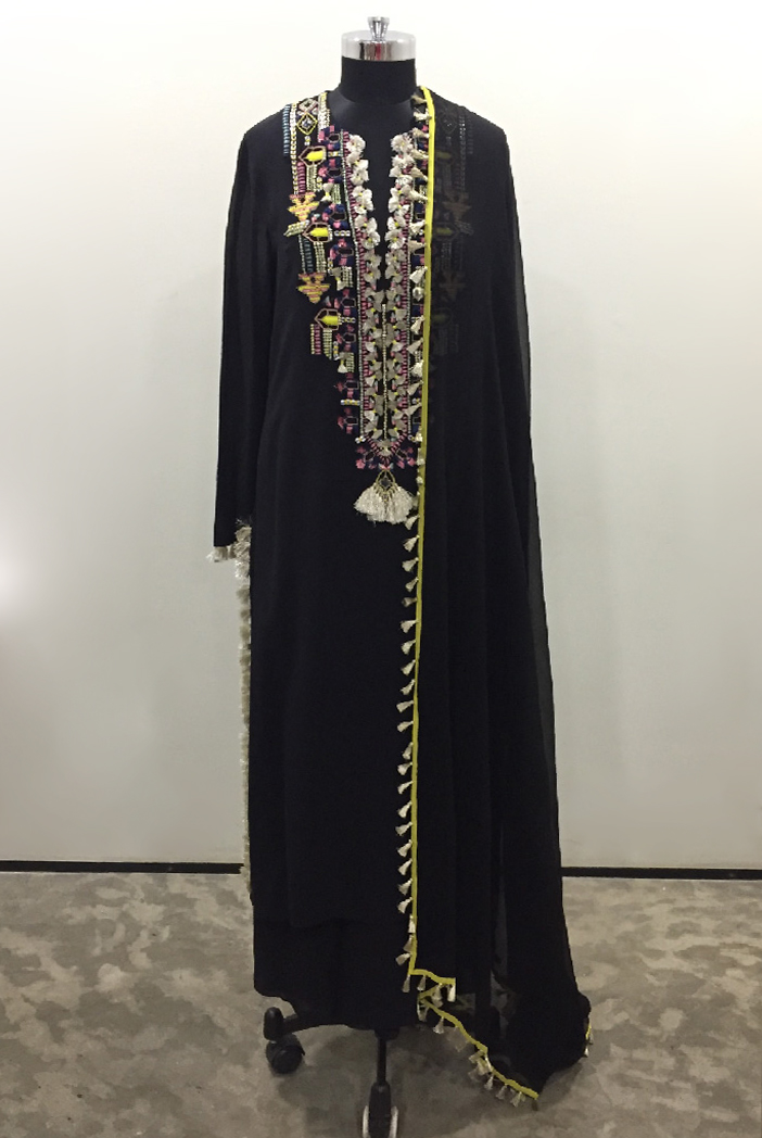 PS-KP0025-1 Black Colour Georgette Kurta with Palazzo and Chiffon Dupatta