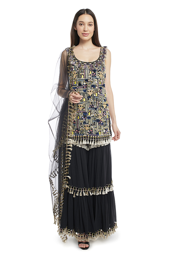 PS-FW661-A  Black Colour Georgette Kurta with Sharara and Net Dupatta