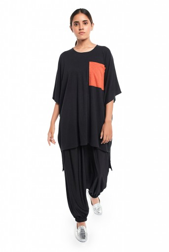 PS-TP0042  Black Colour Jersey High Low Tunic with Burnt Orange Colour Jersey Pocket Detailing