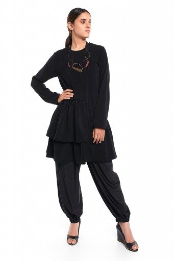 PS-TU1526  Black Colour Thick Georgette 2 Layer Frill Hem Tunic