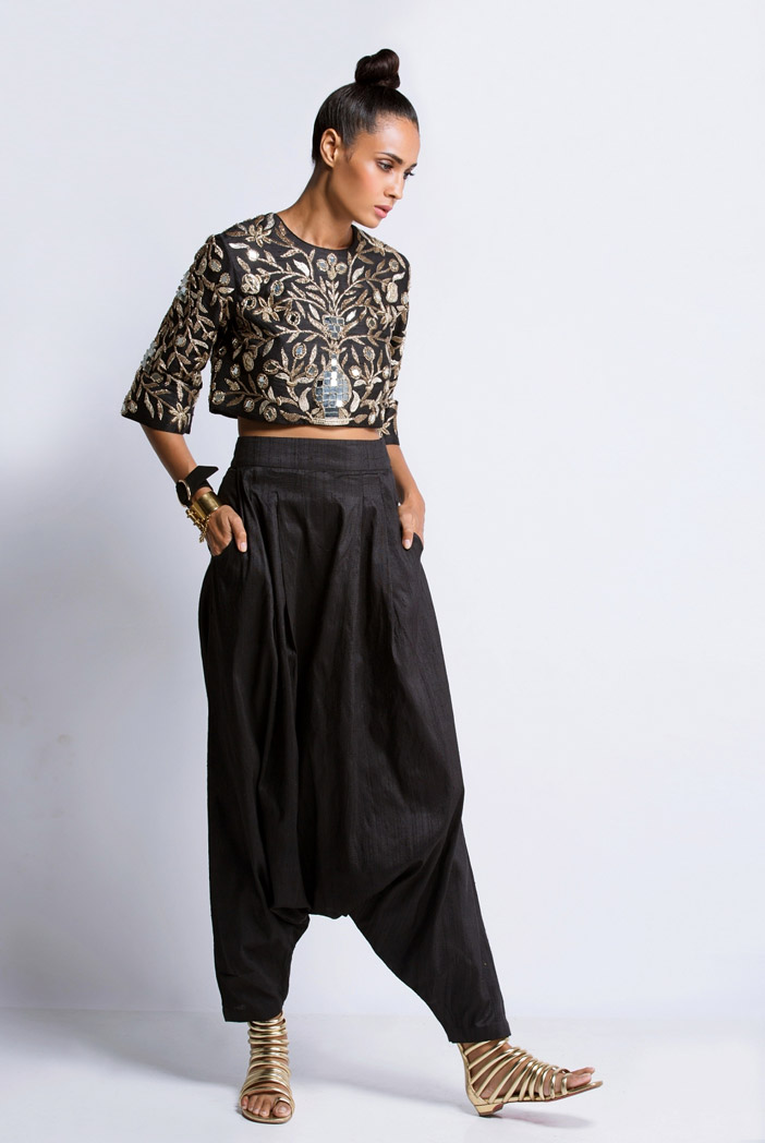 PS-FW311S Black Dupion Silk Crop Top with Low Crotch Pant