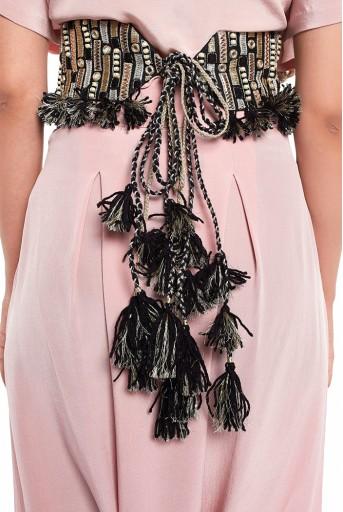 PS-BL008  Black Dupion Silk Dash Embroidered Tie- Up Belt with Tassels