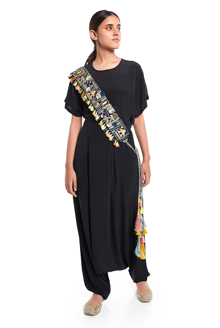 PS-BL003  Black Dupion Silk Istanbul Embroidered Tie- Up Belt with Colourful Tassels
