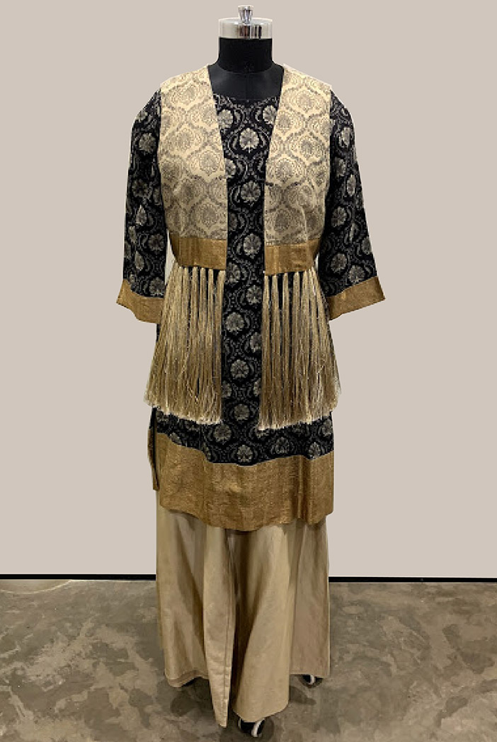 PS-ST1418-A-1 Black Printed Cotton Silk Kurta with Grey Printed Cotton Silk Palazzo and Jacket with Tassels