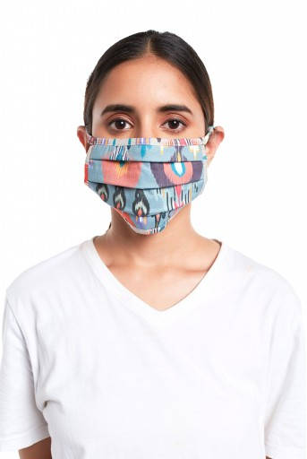 PS-MS0071  Blue and Stone Ikat Garden Print Pleated 3 Ply Mask with Pouch