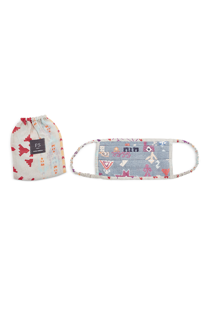 PS-MS0036  PS Men Blue Bandhini Kilim and Grey Ikat Stripe Print Pleated 3 Ply Mask with Pouch for Men