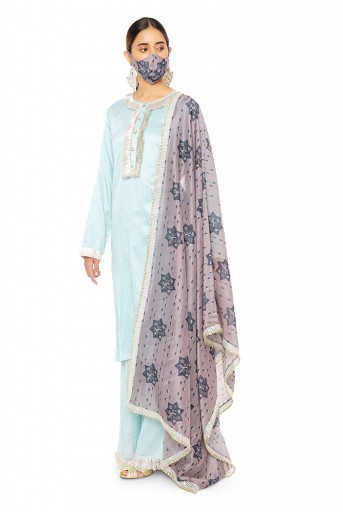 PS-KP0045  Blue Colour Chanderi Stripe Kurta with Palazzo and Purple Star Printed Silkmul Dupatta with Matching Structured 3 Ply Mask