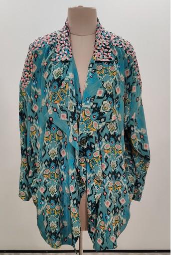PS-JK0006-D-1  Blue Colour Printed Crepe Jacket