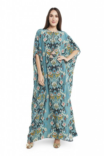 PS-KF0030-A  Blue Colour Printed Crepe Kaftaan