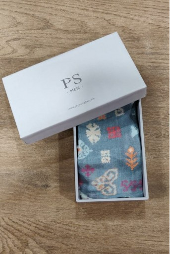 PS-PS123  Blue colour printed silkmul pocket square