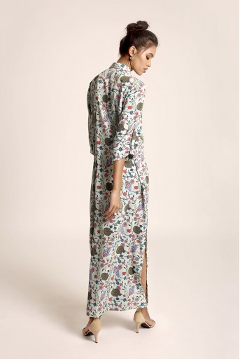 PS-TUA0035 Blue Printed Art Crepe Shirt Dress
