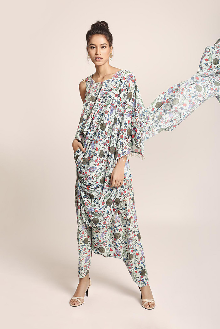 PS-ST1367M Blue Printed Art Crepe Top and Low Crotch Pant with attached Printed Art Georgette Drape