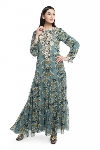 PS-DR0009-B  Blue Printed Art Georgette Tiered Dress