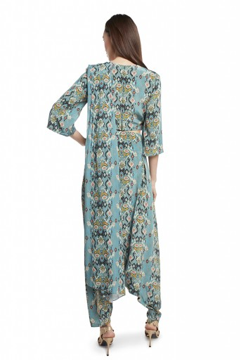 PS-ST1188-TT-1 Blue Printed Crepe Crop Top and Low Crotch pant with Attached Blue Printed Georgette Drape