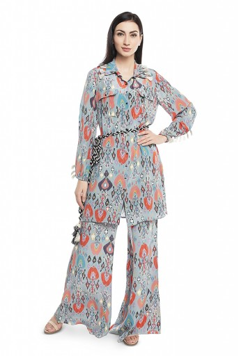 PS-PT0001  Blue Printed Crepe Shirt Kurta with Palazzo and Belt