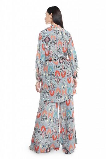 PS-PT0001-2  Blue Printed Crepe Shirt Kurta with Palazzo and Belt