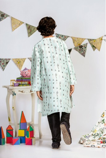 PS-KB0007 Blue Printed Silk Kurta with Black Cotton Silk Churidar