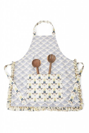 PS-AP0002  Blush and Cream Colour Printed Canvas Apron with Pouch