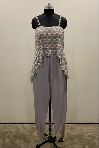 PS-ST1212-1 Blush and Lavender Printed Crepe Top with Lavender Silk Pant