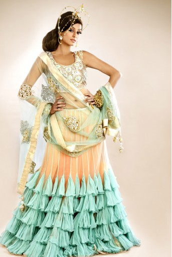 PS-FW101 Blush Choli with Sea Green Frill Lehenga and Blush Dupatta