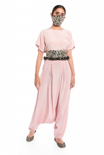 PS-PT0017  Blush Colour Crepe Kaftaan Top and Low Crotch Pant with Black Colour Dupion Silk Embroidered Mask and Tie-Up Belt