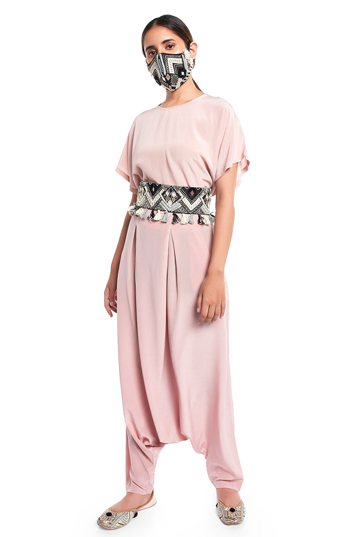 PS-PT0023  Blush Colour Crepe Short Kaftaan Top and Low Crotch Pant with Black Dupion Silk Embroidered Mask and Tie Up Belt