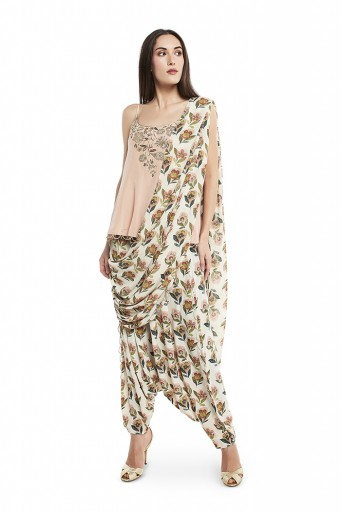 PS-ST1330  Blush Colour Crepe Short Kurta with Cream Colour Printed Grepe Low Crotch Pant with Cream Colour Printed Georgette Attached Drape Dupatta