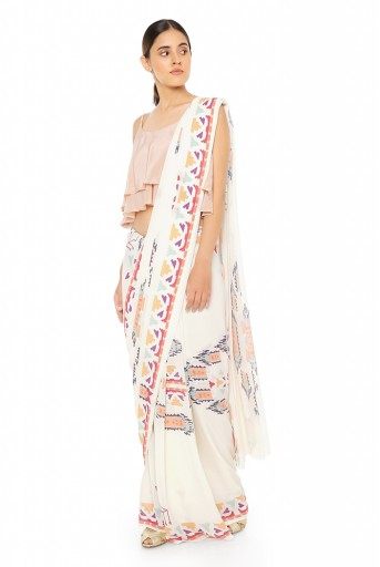 PS-ST1207-EE  Blush Colour Crepe Two Layer Top with Cream Printed Georgette Saree
