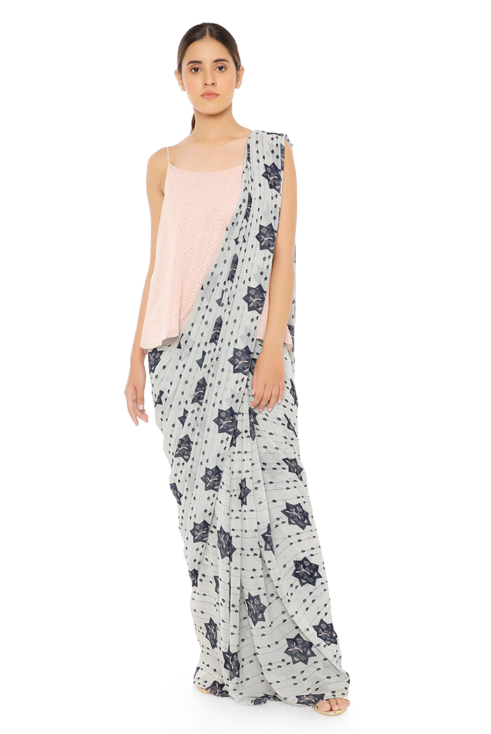 PS-ST1207-FF-1  Blush colour Dot Mukaish Georgette Top with Grey Printed Georgette Saree
