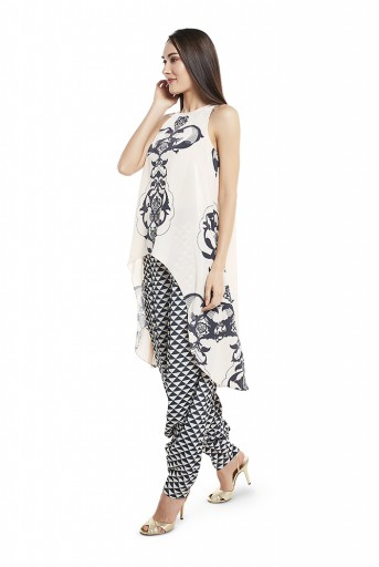 PS-FW420-LLL  Blush Colour Printed Art Crepe Kurta with Black Colour Printed Art Crepe Low Crotch Pant